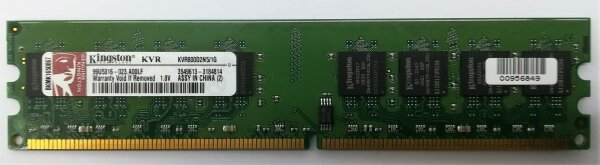 Kingston Technology ValueRAM 1 GB, DDR2, Non-ECC, PC2 – 6400, CL5 (5 – 5-5 – 15), 800 MHz 1 GB DDR2 800 MHz Speicher